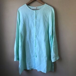 Eileen Fisher 100% Organic Linen Tunic Top Size L